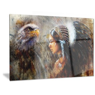 Designart 'Indian Woman with Feather Headdress' Indian Metal Wall Art