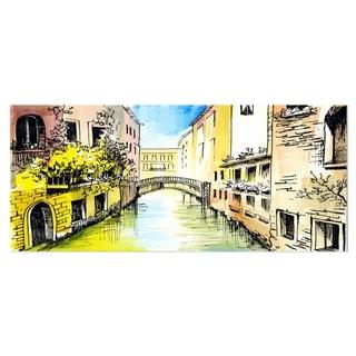Designart 'Canal in Venice' Cityscape Metal Wall Art