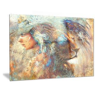 Designart 'Indian Woman Collage with Lion' Indian Metal Wall Art