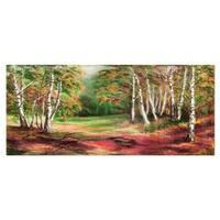 Designart 'Green Autumn Forest' Landscape Metal Wall Art