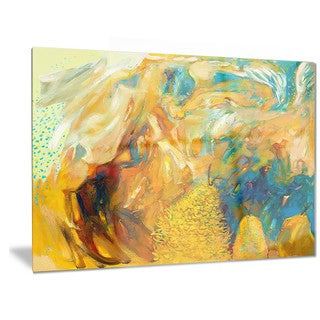 Designart 'Abstract Yellow Collage' Abstract Large Metal Wall Art