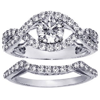 14k/18k White Gold 1 3/4ct Diamond Crossover Engagement Ring Bridal Set (G-H, SI1-SI2)
