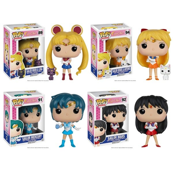 Funko POP! Sailor Moon With Luna, Venus With Artemis, Sailor Mercury and Sailor Mars Anime Collectors Set