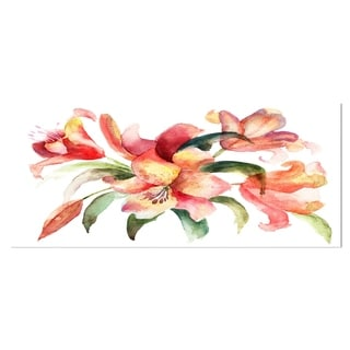 Designart 'Lily Flowers Watercolor Illustration' Floral Metal Wall Art