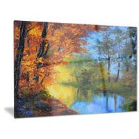 Designart 'Autumn Reflecting in River' Landscape Metal Wall Art