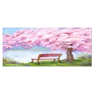 Designart 'Bench under Flowering Peach Tree' Floral Metal Wall Art
