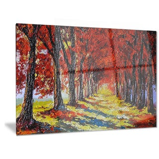 Designart 'Autumn Forest with Red Leaves' Landscape Metal Wall Art