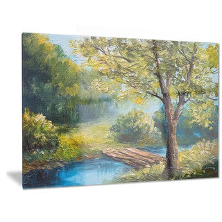 Designart 'Summer Forest with Beautiful River' Landscape Metal Wall Art