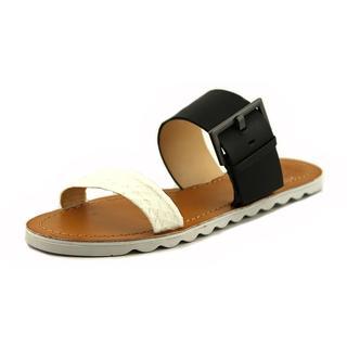 Vince Camuto Women's Motter Black Leather Slide-on Sandals