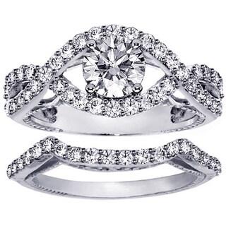 Platinum 1 3/4ct Diamond Crossover Engagement Ring Bridal Set (G-H, SI1-SI2)