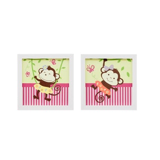 Mi Zone Kids Monkey Madness Multi Framed Gel Coated Paper Set of 2