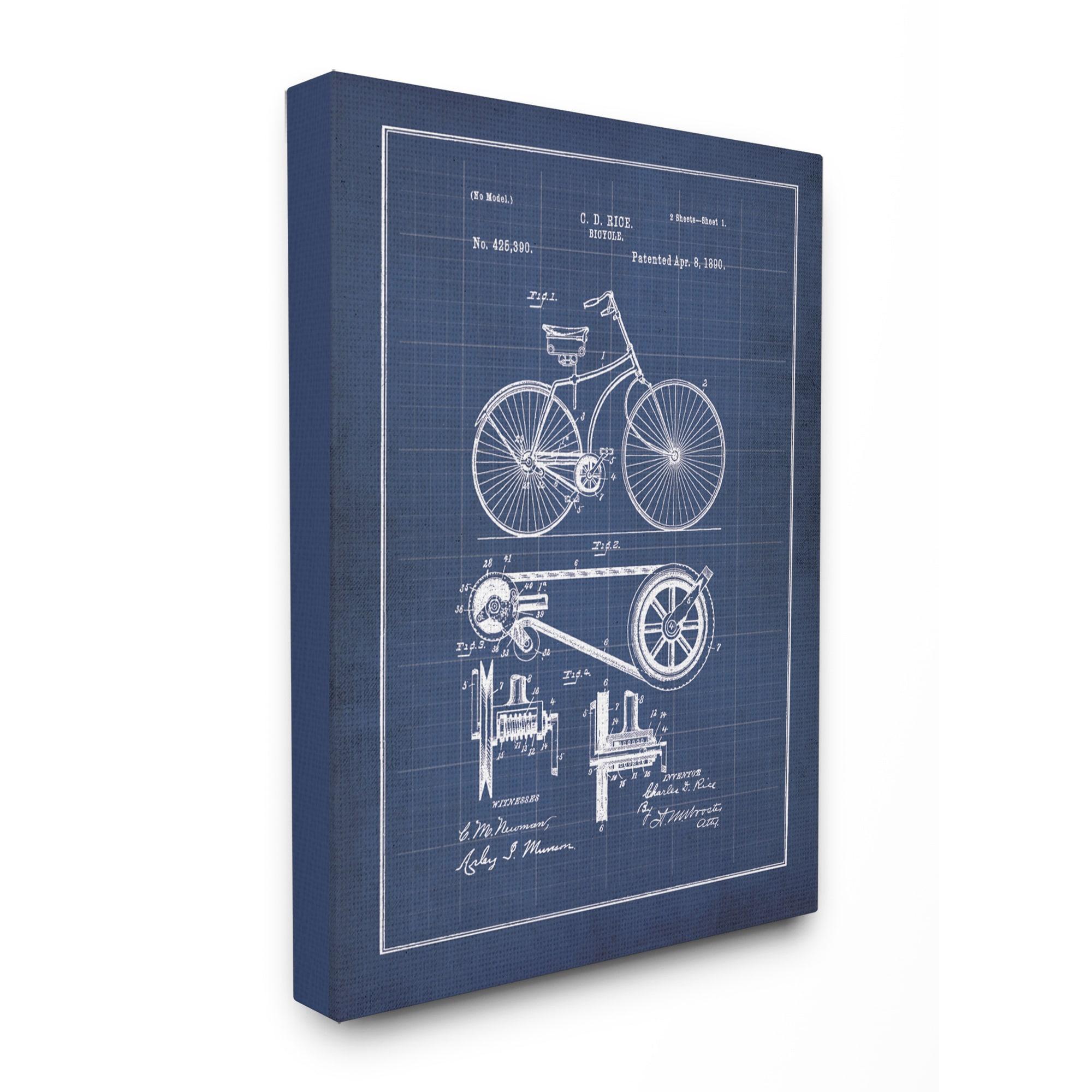 Vintage bike blueprint stretched canvas wall art ebay vintage bike blueprint stretched canvas wall art malvernweather Images