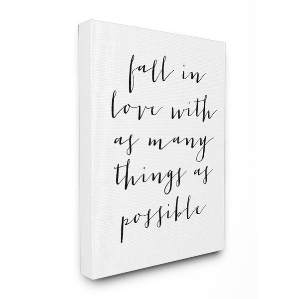 Shop Fall In Love With As Many Things As Possible' Canvas