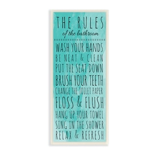 The Rules of the Bathroom' Turquoise Wall Plaque Art