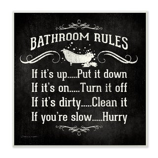 'Bathroom Rules BW Icon' Unframed Wall Plaque Art