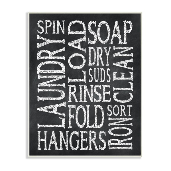 Laundry Words' Typography Chalk Look Wall Plaque Art