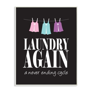 Laundry Again' Wood Print Wall Plaque Art