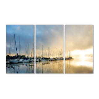 Sail Boats On The Dock' Triptych Wall Plaque Set