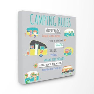 Camping Rules Typog and Icons' Wall Plaque Art