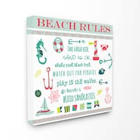 Prints Beach Rules Typography and Icons Wall Plaque Art