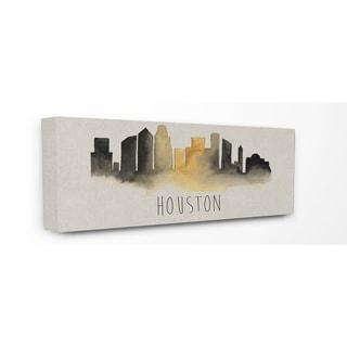 Houston Skyline Silhouette' Wood Wall Plaque Art