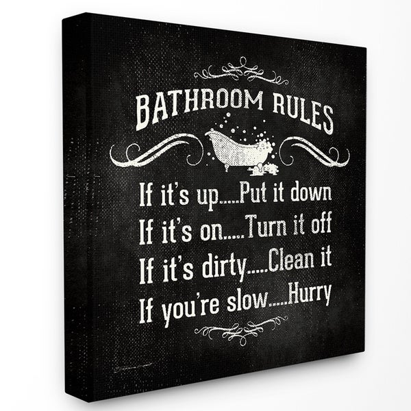 Bathroom Rules Stretched Canvas Wall Art Free Shipping On
