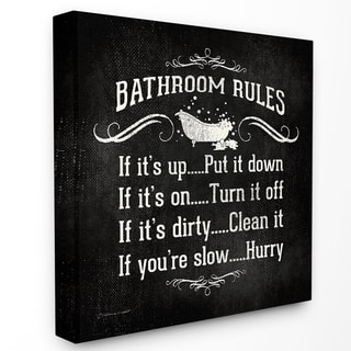 Bathroom Rules' Stretched Canvas Wall Art