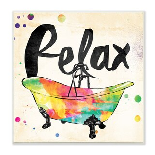 'Relax' Rainbow-colored Stretched Canvas Wall Art