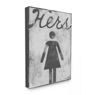 Hers' Distressed Bathroom Sign Stretched Canvas Wall Art