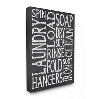 Laundry Words' Black/White Unframed Canvas Wall Art