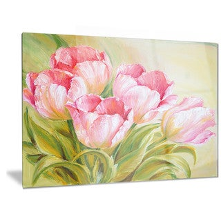 Designart 'Bunch of Tulips Oil Painting' Floral Metal Wall Art