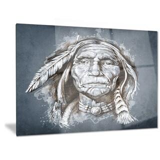 Designart 'Sketch of Tattoo American Indian' Portrait Metal Wall Art
