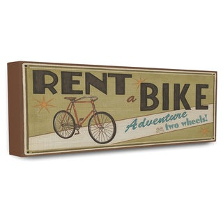 Rent A Bike' Khaki Retro Store Sign Stretched Canvas Wall Art