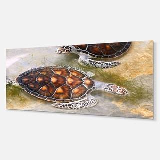Designart 'Sea Turtles in Nursery' Animal Metal Wall Art