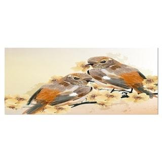 Designart 'Bird Couple on a Branch' Animal Metal Wall Art