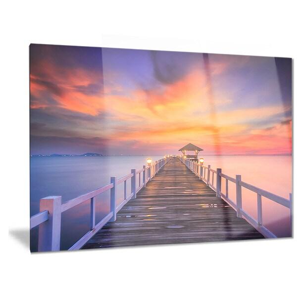 Designart 39 wooden bridge 39 landscape photography metal wall for Metal garden bridge designs