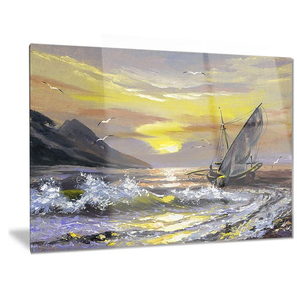 Designart \'Meet you Soon\' Seascape Metal Wall Art - Free Shipping ...