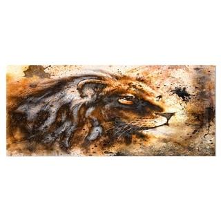 Designart 'Lion Collage' Animal Metal Wall Art