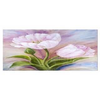 Designart 'White Tulips' Floral Metal Wall Art
