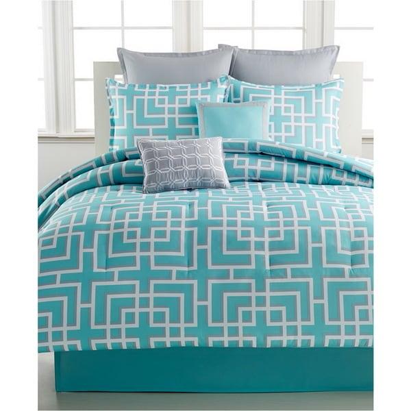 Serenade Blue Gray and White Geometric 8-piece Comforter Set