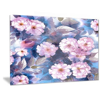 Designart 'White Briar in Classical Style' Floral Metal Wall Art