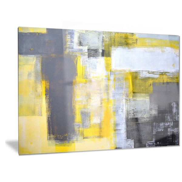 shop designart 39 grey and yellow blur abstract 39 abstract metal wall art on sale free shipping. Black Bedroom Furniture Sets. Home Design Ideas