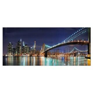 Designart 'Brooklyn Bridge Panorama' Cityscape Photo Metal Wall Art