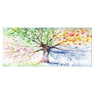 Designart 'Four Seasons Tree' Floral Metal Wall Art