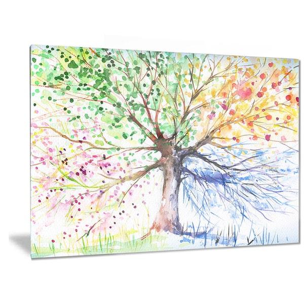 Designart X27 Four Seasons Tree Fl Metal Wall Art