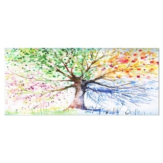 Designart 'Four Seasons Tree' Floral Metal Wall Art