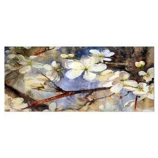 Designart 'White Spring Flowers' Floral Metal Wall Art