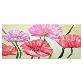 Designart 'Red and Pink Poppies' Floral Metal Wall Art