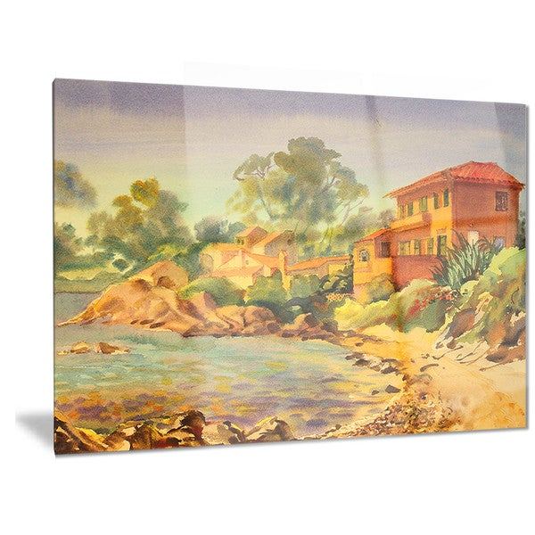 Designart \'French Riviera\' Landscape Metal Wall Art - Free Shipping ...
