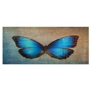Designart 'Blue Vintage Butterfly' Floral Metal Wall Art